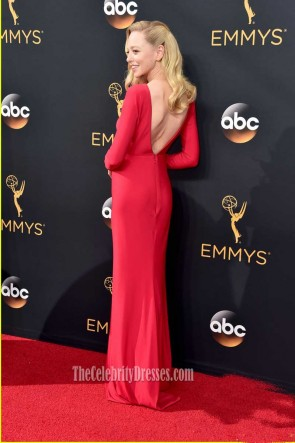 Portia Doubleday 2016 Emmy Awards Rot mit langen Ärmeln ausgeschnitten Abendkleid