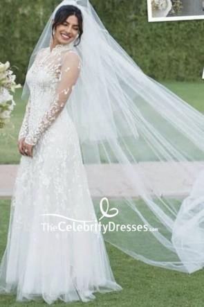Priyanka Chopra weiß Luxus appliziert Brautkleid