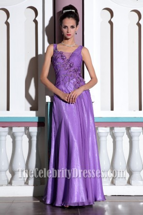 Purple Embroidered Chiffon Formal Gown Evening Prom Dresses