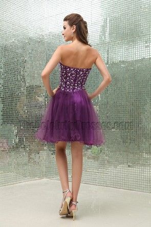 Grape Strapless A-Line Tulle Party Homecoming Dress With Beading
