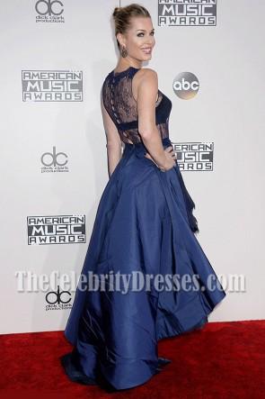 Rebecca Romijn blaue Spitze-Abend-Abschlussball-Kleid 2016 amerikanische Musik-Preise