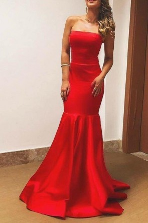 Red Strapless Mermaid Prom Dress