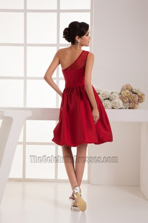 Red One Shoulder Cocktail Graduation Party Homecoming Dresses