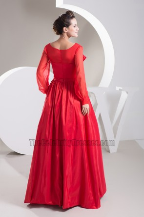 Red Long Sleeve A-Line Prom Gown Evening Formal Dress