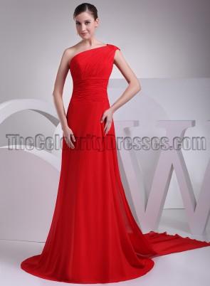 Elegant Red One Shoulder Chiffon Prom Bridesmaid Dresses