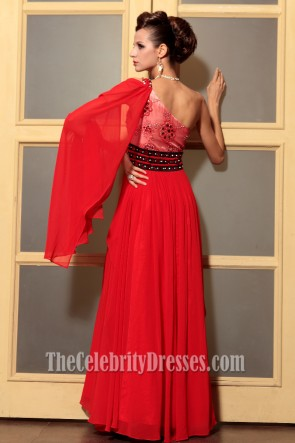 Gorgeous Red One Shoulder Beaded Formal Dress Prom Gown