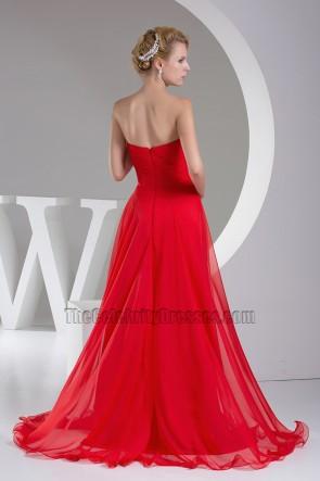 Rotes trägerloses A-Line Chiffon Abendkleid Ballkleid