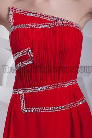 Rotes trägerloses Abendkleid aus Chiffon