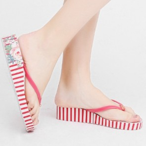 Red Striped Print Wedge Platform Flip Flops