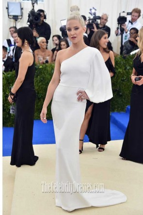 Kate Hudson White One-shoulder One-sleeve Gown 2017 Met Gala
