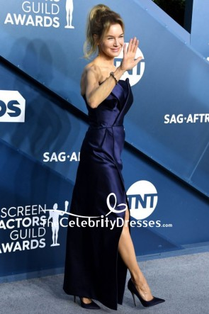 Renee Zellweger Dunkle Marine Trägerloses Abendkleid 2020 SAG Awards