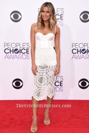 Renee Bargh White Lace Cocktail Party Dress People's Choice Awards Red Carpet TCDB105