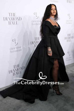 Rihanna Schwarz Liebsten High Low Ballkleid 3. Jährliche Clara Lionel Foundation Diamond Ball