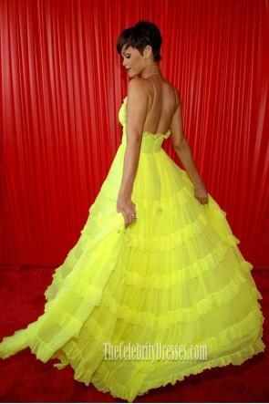 Rihanna Gelb Spaghetti-Trägern V-Ausschnitt Rückenfreies A-Linie Rüschenkleid BET Awards 2008