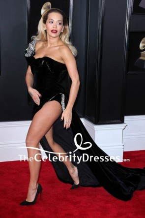Rita Ora Black Thigh-high Slit Velvet Off-the-shoulder Evening Dress 2018 Grammys Red Carpet Gown TCD7711