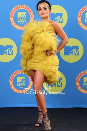 Rita Ora Yellow Ruffled Strapless Mini Dress 2020 MTV EMAs