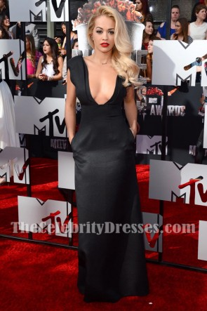 Rita Ora Black Deep V-neck Evening Prom Gown 2014 MTV Movie Awards