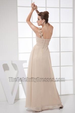 Romantische Champagner One Shoulder Ballkleid Brautjungfernkleider