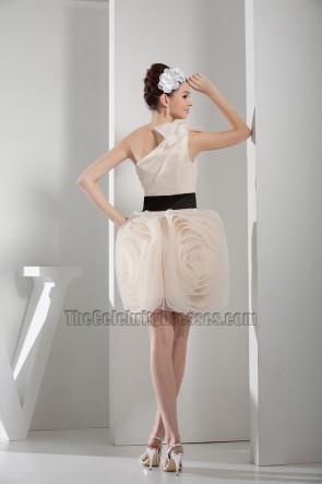 Romantic One Shoulder Short Bridesmaid Cocktail Party Dresses