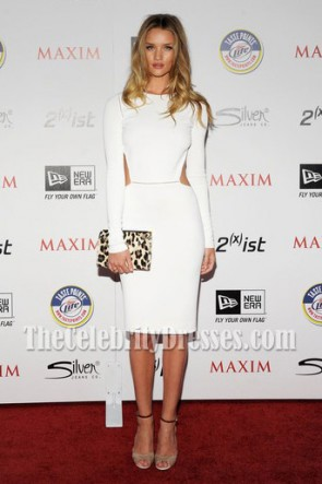 Rosie Huntington-Whiteley White Cocktail Party Dress 2011 Maxim Hot 100 Party