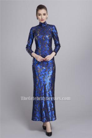 Royal Blue High Neckline Long Sleeve Evening Formal Dresses