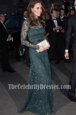 Kate Middleton lange grüne Spitze Abendkleid Porträt Gala 2017 Geldbeschaffer