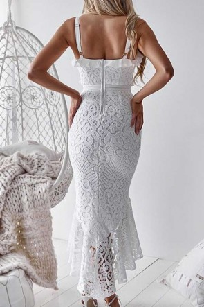 Ruffled Mermaid Lace Dress