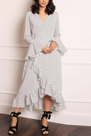 Ruffled Polka Dot V-neck Dress