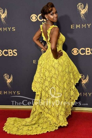 Ryan Michelle Bathe Gelbe Hohe Niedrige Spitze Abendkleid 2017 Emmy Awards Roter Teppich