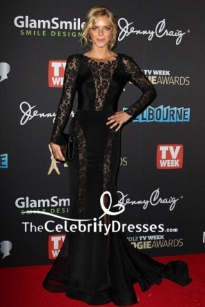 Samara Weaving Black Lace Evening Dress Logie Awards 2012 Red Carpet