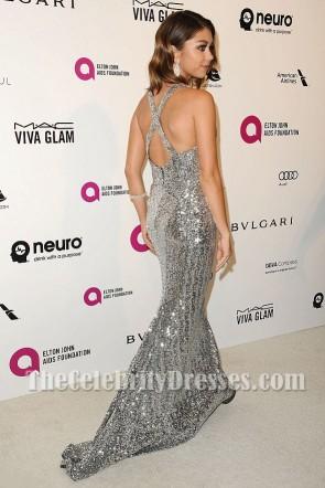 Sarah Hyland Silver Cross Back Deep V-neck Sequin Dress 2016 Elton John's Oscar party TCD7459
