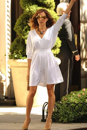 "Sarah Jessica Parker White Short Cocktail Party Dress in ""Sex And The City"" 2"