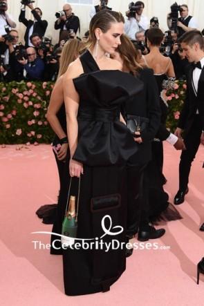 Sarah Paulson Black Column One Shoulder Dress 2019 Met Gala TCD8513