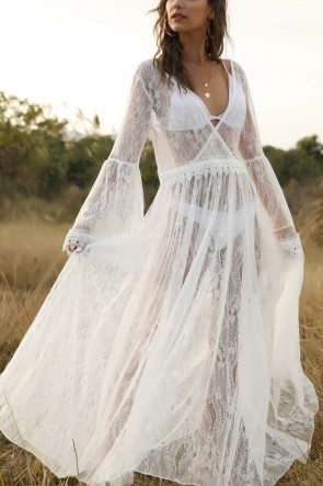 White Sexy See Through Lace Dress