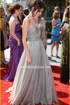 Selena Gomez Silber trägerlosen Abschlussballkleid Kreative Künste Emmys Roter Teppich