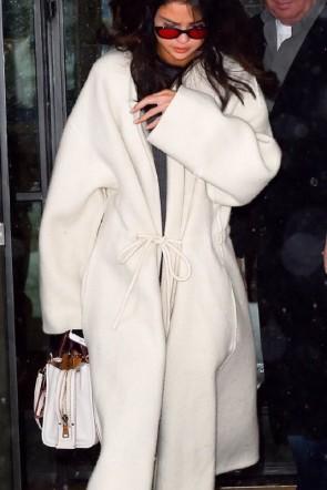 Selena Gomez White Woolen  Lace-up Coat