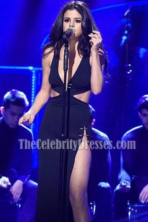 Selena Gomez schwarz Ausschnitt High-Slit Abendkleid Samstag Nacht Live Performance