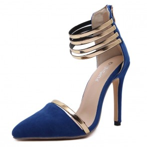 Sexy Blue Pointed Toe Metal Sandals Suede Stiletto Heels For Women