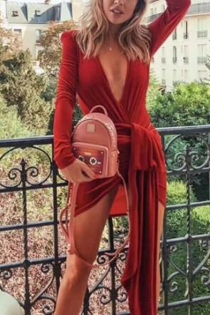 Sexy Deep V-Neck Velvet Prom Dress