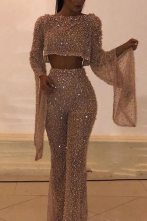 Sexy Gold Sparkly Jumpsuit With Sleeves