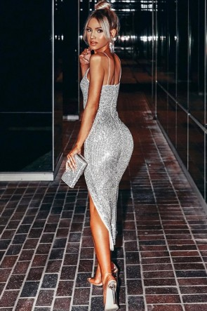 Sexy Silver Bodycon Party Dress TCDFD8855