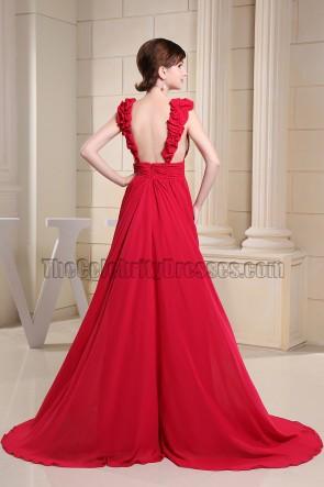 Sexy rückenfreies rotes Chiffon-Abendkleid