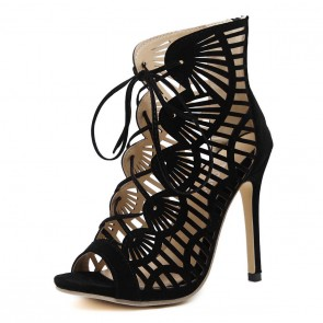 Sexy Black Fish Mouth Hollow Stiletto Heel Peep Toe Summer Sandals For Women