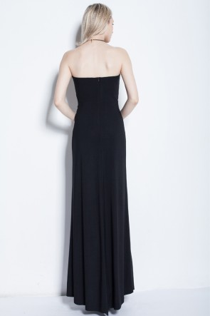 Sexy Black Strapless Evening Gown Prom Dress