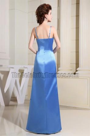 Einfache blaue Spaghettiträger Abendkleid Ballkleid