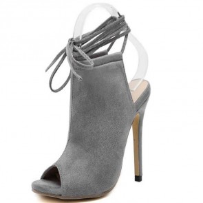 Sexy Gray Fish Head Stiletto Sandals With Cross Strap Suede Peep Toe Prom Shoes