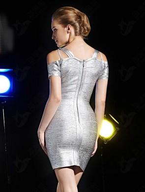 Reizvolle kurze Mini-Silber-Partei-Kleid-Verband-Cocktailkleider TCD5907