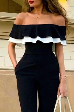 Sexy Strapless Flounce Jumpsuit
