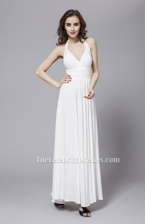 Sexy White Backless Halter Prom Gown Evening Dresses