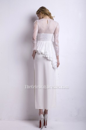 Sexy White High Slit Long Sleeve Formal Evening Dresses TCDBF058
